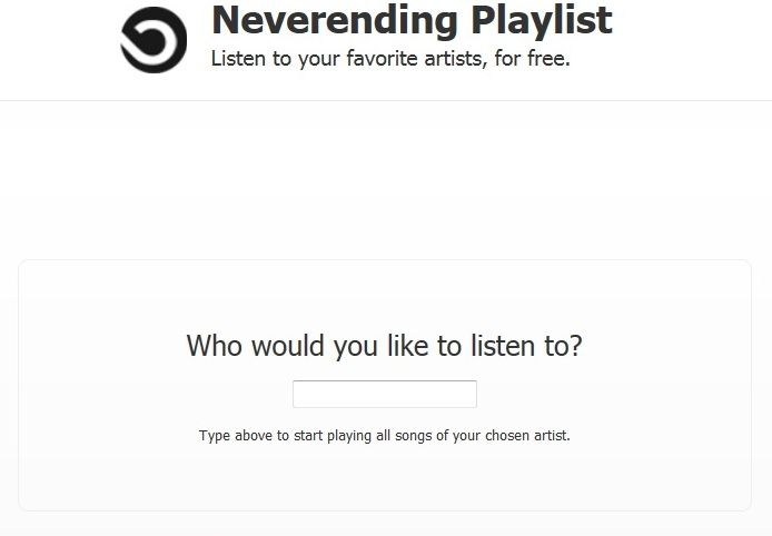 Free music with neverending playlist