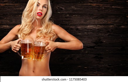 Naked woman with drink bottle